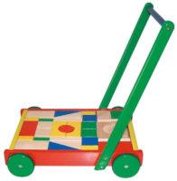 Dřevěné chodítko Vozík s kostkami