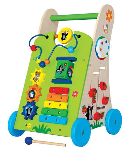 Barevné dřevěné dětské chodítko s xylofonem a dalšími aktivitami