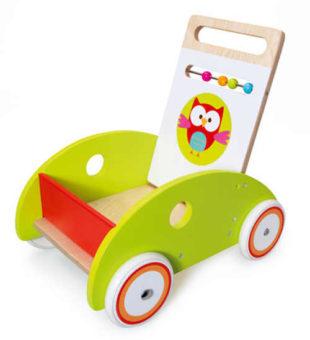 Dřevěné chodítko Scratch s vozítkem na hračky