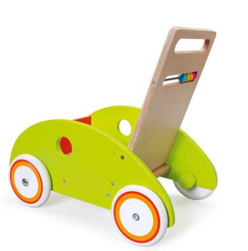 Dřevěné dětské chodítko vozík s gumovýma kolečkama