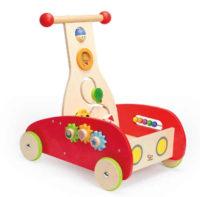 Hravé dřevěné dětské chodítko s aktivitami