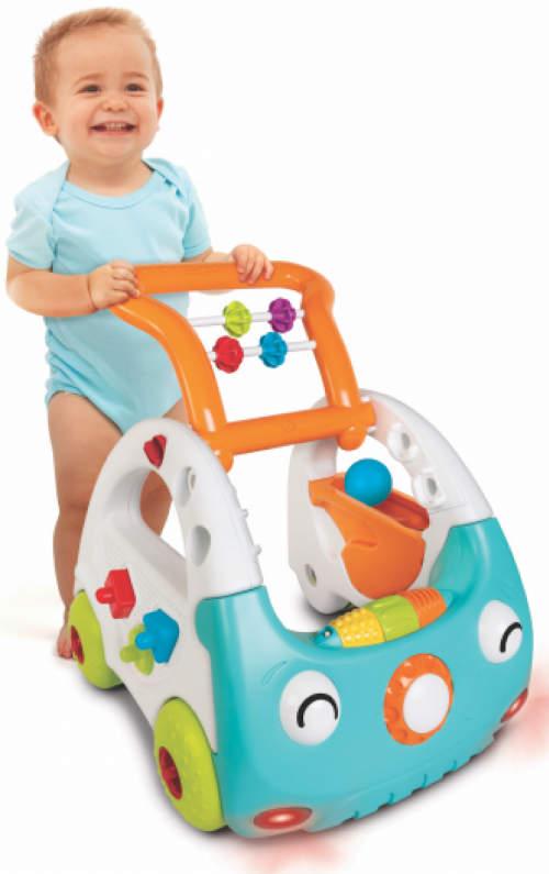 Dětské interaktivní chodítko auto s polohovatelným madlem