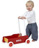 Dřevěné dětské chodítko červeno-žlutý vozík