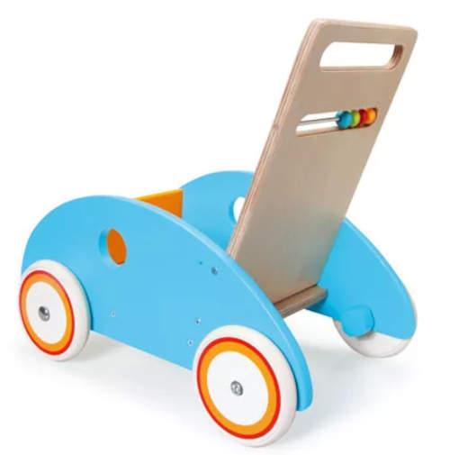 Modré dřevěné dětské chodítko vozík na hračky