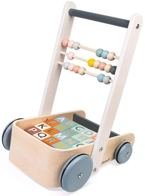 Dětský vozík na kostky dřevěné