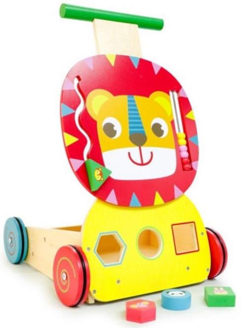 Dřevěné dětské chodítko s vkládačkou a úložným boxem na hračky